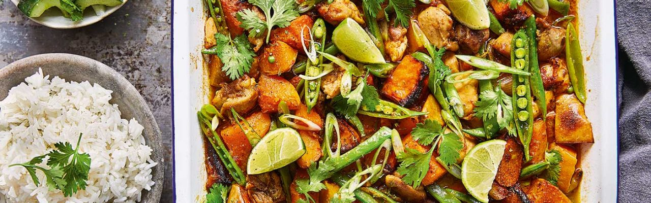 Slide image for Thai red chicken and squash traybake by Jamie Oliver